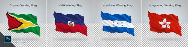 Conjunto de banderas de guyana, haití, honduras, bandera de hong kong en transparente