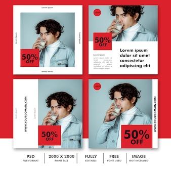 Conjunto de banner de anuncios de instagram de moda masculina