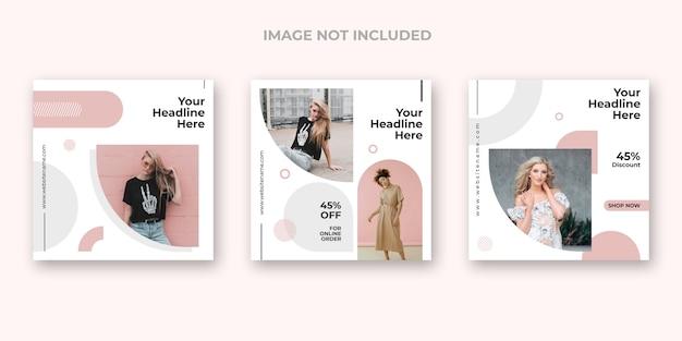 Conjunto de banner de instagram de moda minimalista