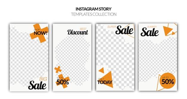 Conjunto de banner de venta de historias de instagram