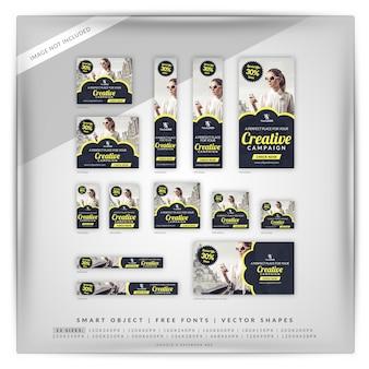 Conjunto de banners de campaña de venta creativa