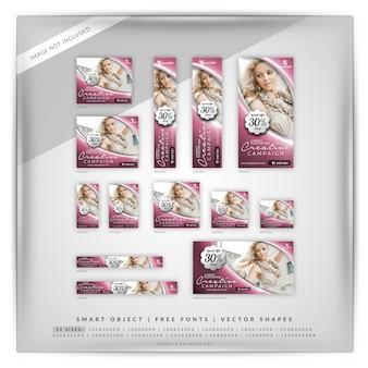 Conjunto de banners creativos de moda y venta