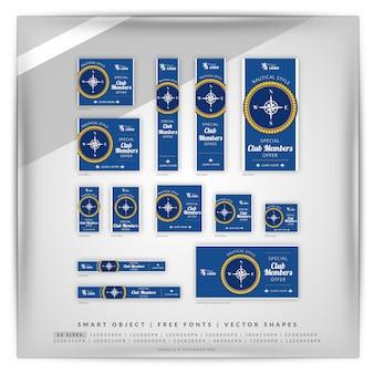 Conjunto de banners de google para navegación náutica y náutica