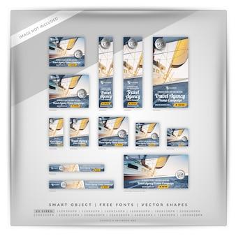 Conjunto de banners de promoción de agencia de viajes