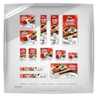 Conjunto de banners de promoción de restaurante de sushi