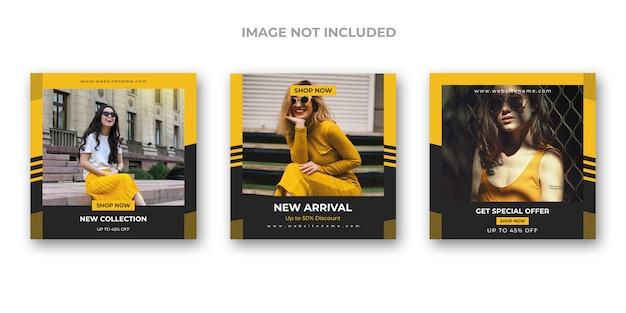 Conjunto de banners de redes sociales de moda