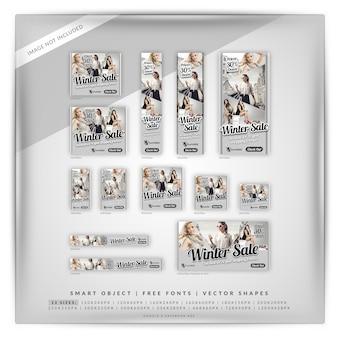 Conjunto de banners de venta de imagen múltiple de invierno