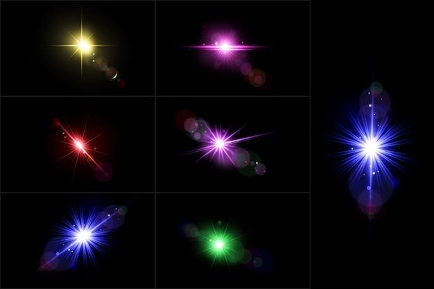 Conjunto de bengalas de colección de luces de lentes realistas.
