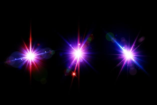 Conjunto de bengalas de lentes de galaxias coloridas, colección de luces de lentes