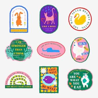 Conjunto de cita motivacional de psd de insignia de ilustración de animal lindo