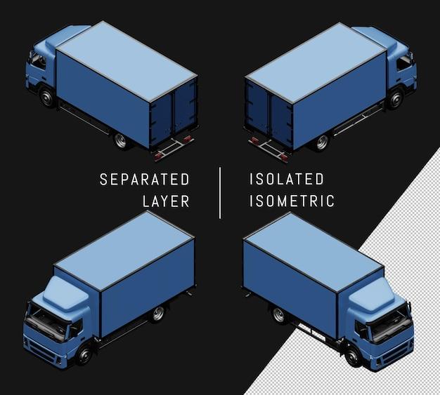 Conjunto de coche isométrico de camión aislado caja azul