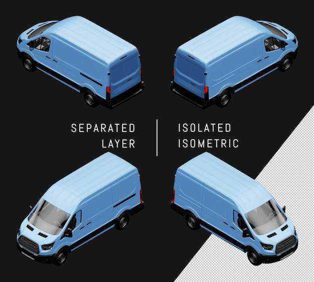 Conjunto de coche isométrico de furgoneta genérico azul aislado