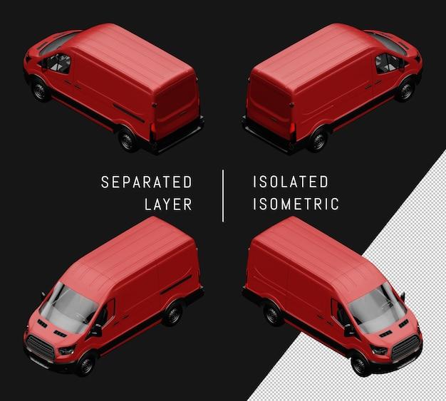 Conjunto de coche isométrico furgoneta genérico rojo aislado