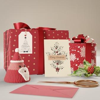 Conjunto de colección de regalos preparado para el día de navidad