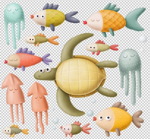 Conjunto de criaturas marinas de dibujos animados