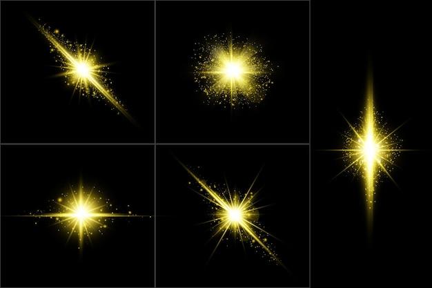Conjunto de destellos de lente brillante dorado