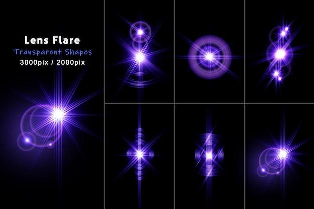 Conjunto de destellos de lente con racha de luz azul transparente