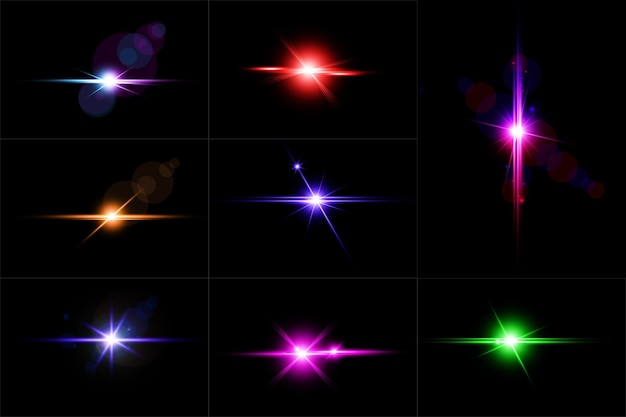 Conjunto de destellos de lentes brillantes coloridos, colección de luces de lentes abstractas