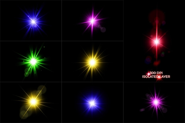 Conjunto de destellos de lentes de colores, colección de luces de lentes brillantes