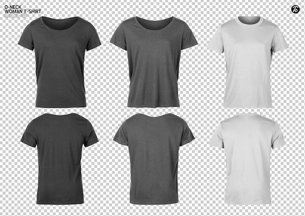 Conjunto de diseño de maqueta de camiseta de mujer
