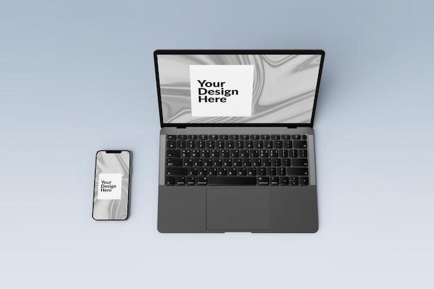 Conjunto de dispositivos digitales editables maquetas de teléfonos inteligentes y portátiles