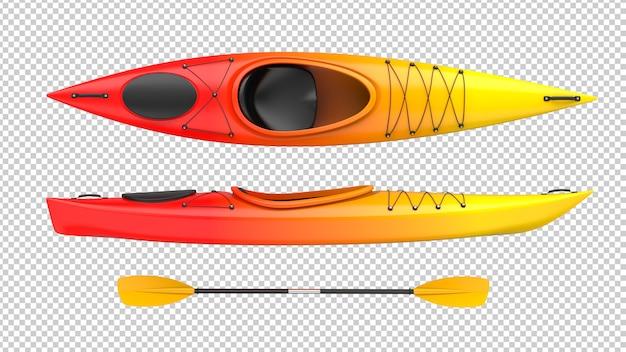 Conjunto de dos vistas de kayak de plástico rojo y amarillo.