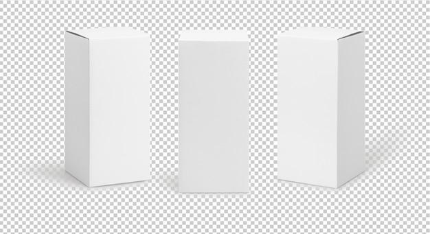 Conjunto de embalaje de producto de caja blanca de forma alta en vista lateral y maqueta de vista frontal
