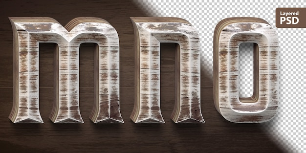 Conjunto de fuente de madera 3d. letras mn o.