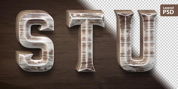 Conjunto de fuente de madera 3d. letras st u.