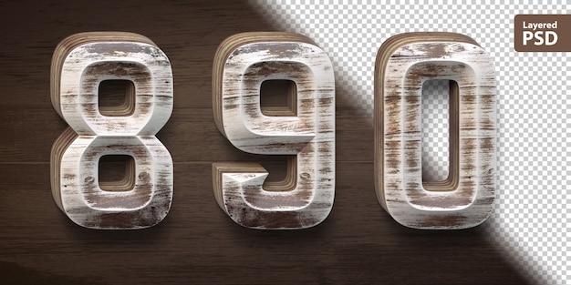 Conjunto de fuente de madera 3d. números 8 9 0.