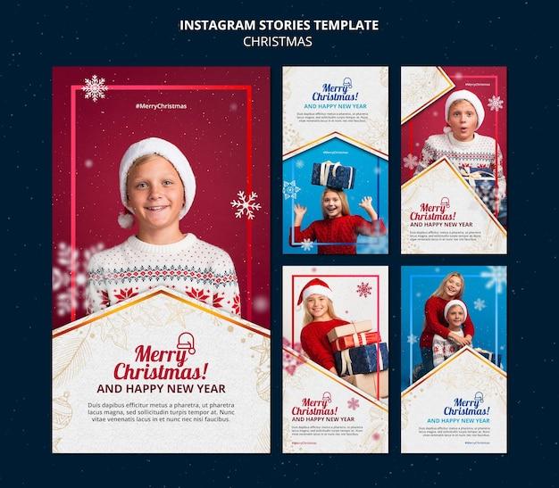 Conjunto de historias de celebración navideña ig