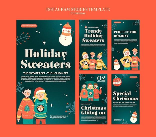 Conjunto de historias de ig de temporada de suéter de celebración.