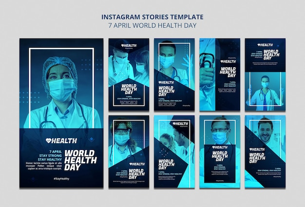 Conjunto de historias de instagram del día mundial de la salud