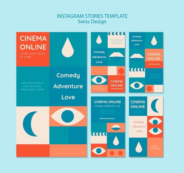 Conjunto de historias de instagram de diseño suizo