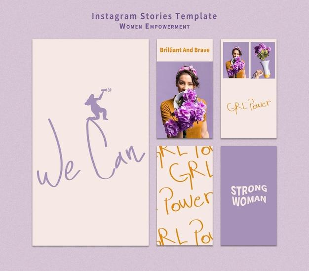 Conjunto de historias de instagram de empoderamiento de mujeres.
