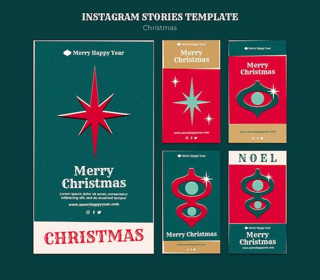 Conjunto de historias de instagram de feliz navidad