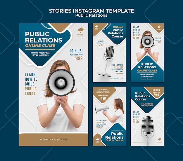 Conjunto de historias de instagram de relaciones públicas.