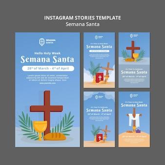 Conjunto de historias de redes sociales de semana santa