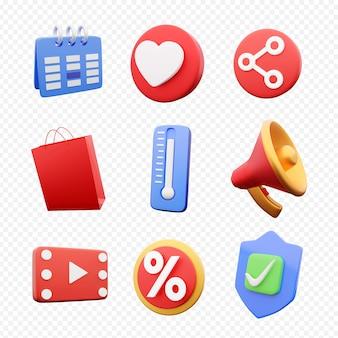Conjunto de iconos de mezcla de render 3d sobre fondo blanco. conjunto de iconos de render 3d multicolor