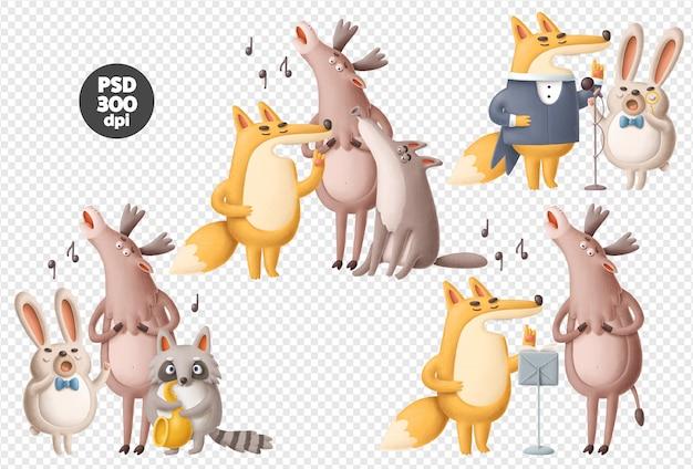 Conjunto de ilustraciones psd de animales cantando