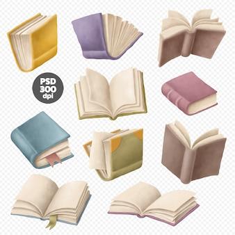 Conjunto de imágenes prediseñadas de libros aislado