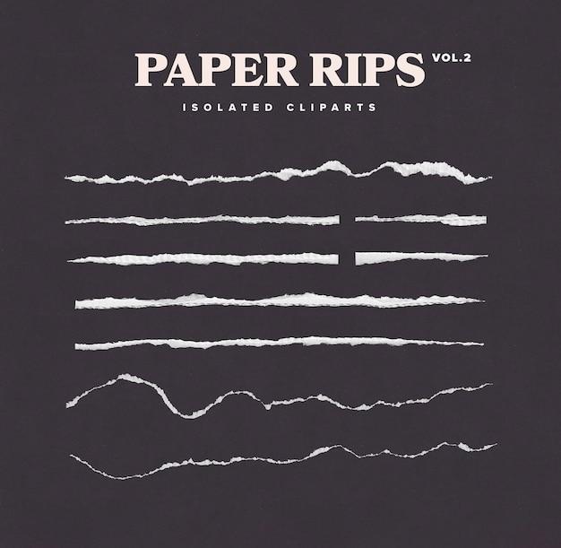 Conjunto de imágenes prediseñadas de rasgado de papel aislado