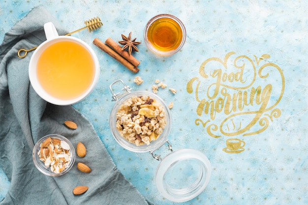 Conjunto de ingredientes saludables de inicio