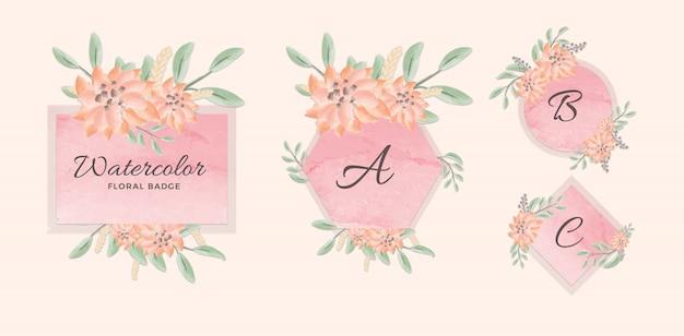 Conjunto de insignia geométrica femenina con fondo rosa acuarela y flores