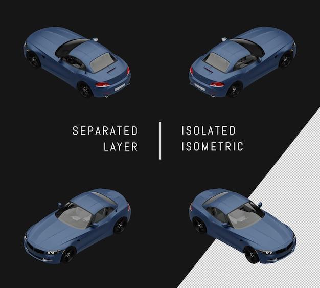 Conjunto isométrico coche azul elegante super sport car aislado