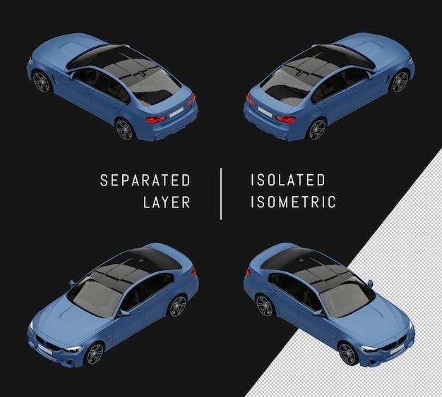 Conjunto isométrico coche coche ciudad deportiva elegante azul aislado