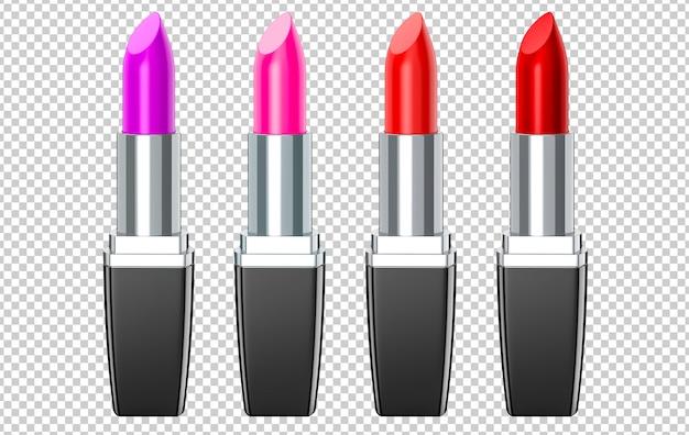 Conjunto de labiales rojos, rosados, violetas, vino