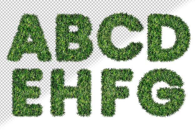 Conjunto de letras del alfabeto de hierba de la a a la h