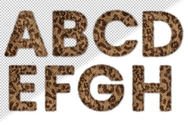 Conjunto de letras de pieles de animales de la a a la h
