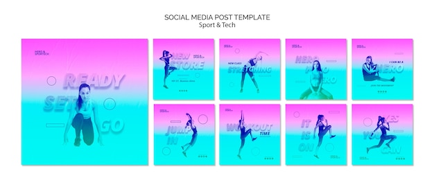 Conjunto listo para ir a la plantilla de publicación de redes sociales